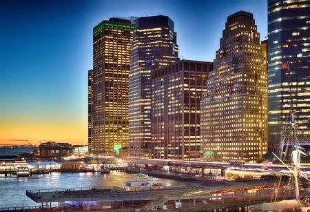Beautiful sunset in Lower Manhattan, New York City. Stockfoto