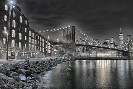 Brooklyn Bridge taken from Brooklyn Bridge Park against a Lower Manhattan - HDR image.