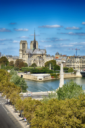 View of Notre Dame de Paris at sunny day.