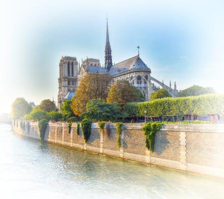 View of Notre Dame de Paris at sunset time. Stock Photo