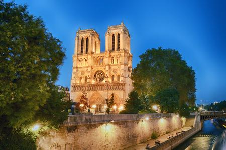 View of Notre Dame de Paris at evening. 免版税图像
