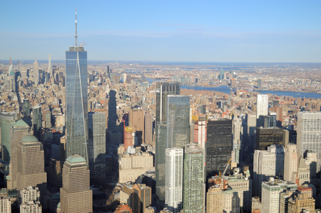 View of Manhattan from helicopter. Stock Photo