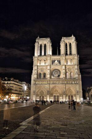View of Notre Dame de Paris at night.