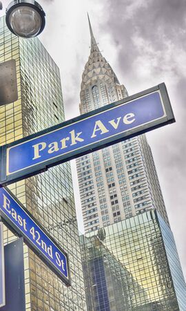 Park Avenue street sign in New York City, USA.