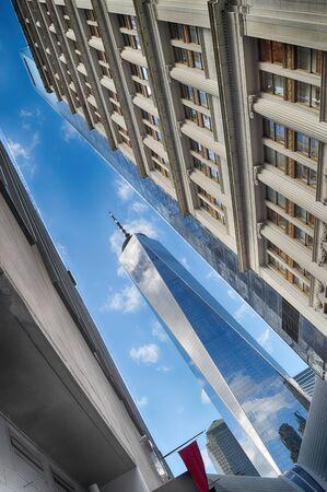 Fragment of the World Trade Center in Lower Manhattan.