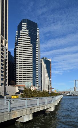 View of Lower Manhattan skyline at sunny day. Sajtókép