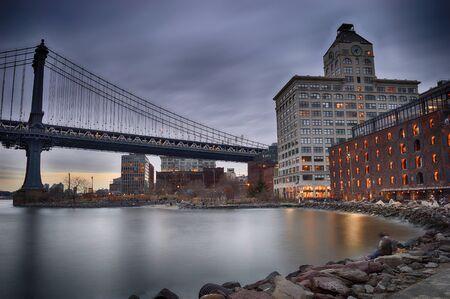 Brooklyn Bridge Park coastline with Manhattan Bridge - HDR image.