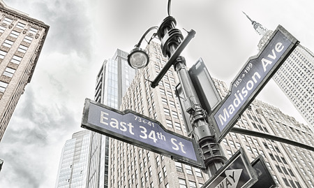Street sign in New York City. East 34th Street, Madison Avenue.