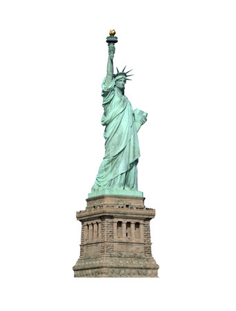 Statue of Liberty with pedestal isolated on white.