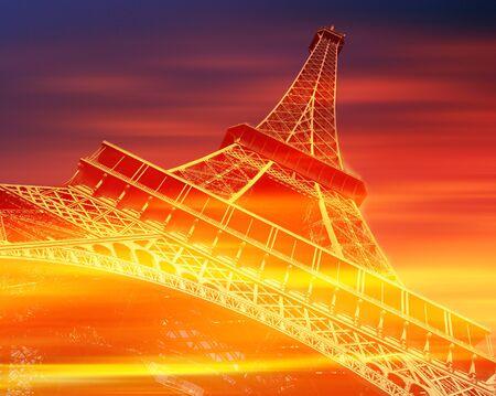 Eiffel Tower, Paris, in red and orange tones. Stock fotó