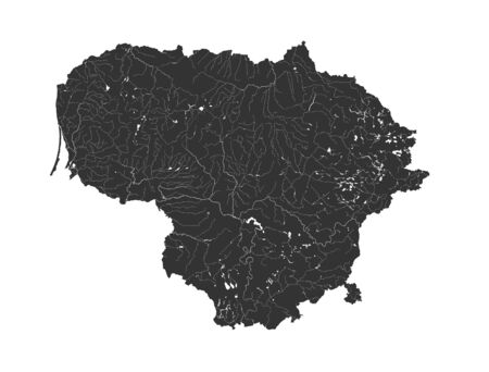 Baltic states - map of Lithuania. Hand made. Rivers and lakes are shown. Please look at my other images of cartographic series - they are all very detailed and carefully drawn by hand WITH RIVERS AND LAKES.