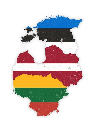 Map of Baltic states with rivers and lakes in colors of the national flags of Baltic states. Please look at my other images of cartographic series - they are all very detailed and carefully drawn by hand WITH RIVERS AND LAKES.
