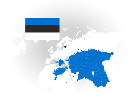 Map of Estonia with rivers and lakes, national flag of Estonia and world map as background. Please look at my other images of cartographic series - they are all very detailed and carefully drawn by hand WITH RIVERS AND LAKES.