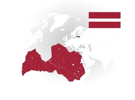 Map of Latvia with rivers and lakes, national flag of Latvia and world map as background. Please look at my other images of cartographic series - they are all very detailed and carefully drawn by hand WITH RIVERS AND LAKES.