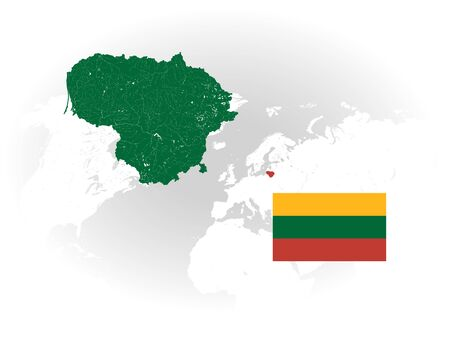 Map of Lithuania with rivers and lakes, national flag of Lithuania and world map as background. Please look at my other images of cartographic series - they are all very detailed and carefully drawn by hand WITH RIVERS AND LAKES.
