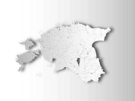 Map of Estonia with paper cut effect. Hand made. Rivers and lakes are shown. Please look at my other images of cartographic series - they are all very detailed and carefully drawn by hand WITH RIVERS AND LAKES.