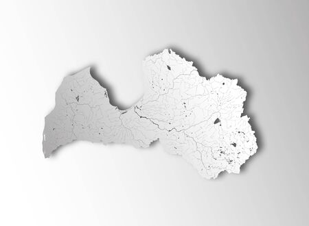 Map of Latvia with paper cut effect. Hand made. Rivers and lakes are shown. Please look at my other images of cartographic series - they are all very detailed and carefully drawn by hand WITH RIVERS AND LAKES.