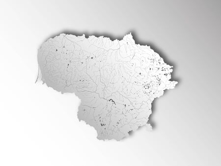 Map of Lithuania with paper cut effect. Hand made. Rivers and lakes are shown. Please look at my other images of cartographic series - they are all very detailed and carefully drawn by hand WITH RIVERS AND LAKES.