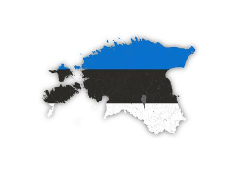 Map of Estonia with rivers and lakes in colors of the Estonian national flag. Please look at my other images of cartographic series - they are all very detailed and carefully drawn by hand WITH RIVERS AND LAKES.