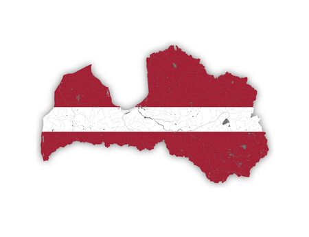 Map of Latvia with rivers and lakes in colors of Latvian national flag. Please look at my other images of cartographic series - they are all very detailed and carefully drawn by hand WITH RIVERS AND LAKES.