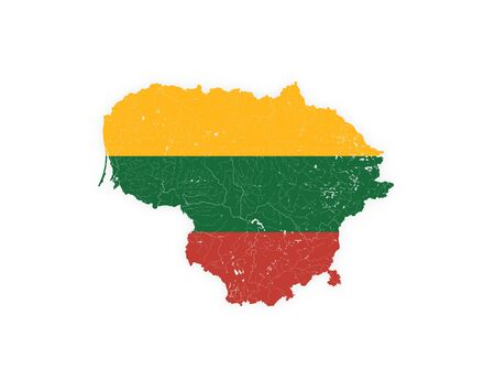 Map of Lithuania with rivers and lakes in colors of Lithuanian national flag. Please look at my other images of cartographic series - they are all very detailed and carefully drawn by hand WITH RIVERS AND LAKES. 向量圖像