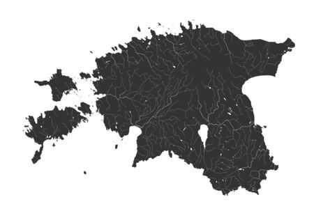 Baltic states - map of Estonia. Hand made. Rivers and lakes are shown. Please look at my other images of cartographic series - they are all very detailed and carefully drawn by hand WITH RIVERS AND LAKES.
