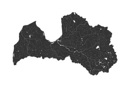 Baltic states - map of Latvia. Hand made. Rivers and lakes are shown. Please look at my other images of cartographic series - they are all very detailed and carefully drawn by hand WITH RIVERS AND LAKES. Illusztráció