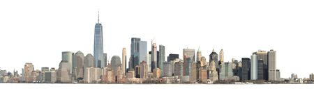 Panoramic view of Lower Manhattan from the Ellis Island - isolated on white. Clipping path included. Stock fotó
