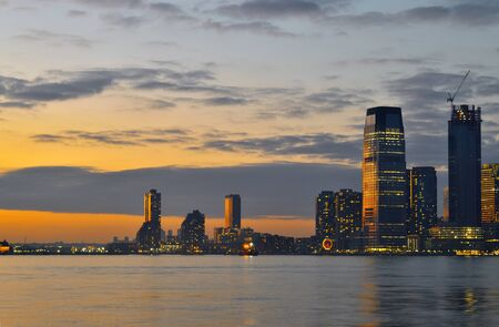 A night view of Jersey City from Battery Park. Stok Fotoğraf