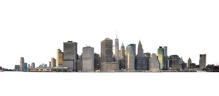 anoramic view of Lower Manhattan from Brooklyn Heights - isolated on white. Clipping path included. Good for use with dark background. Stock fotó