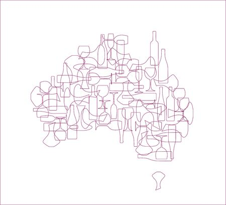 Countries winemakers - stylized maps from silhouettes of wine bottles, glasses and decanters. Map of Australia. Illusztráció