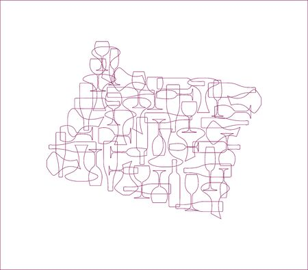 States winemakers - stylized maps from silhouettes of wine bottles, glasses and decanters. Map of Oregon.