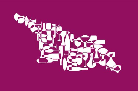Countries winemakers - stylized maps from silhouettes of wine bottles, glasses and decanters. Map of Georgia (country).