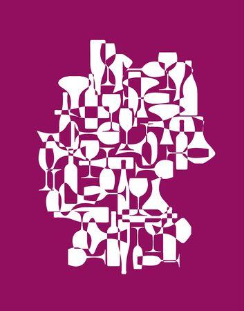 Countries winemakers - stylized maps from silhouettes of wine bottles, glasses and decanters. Map of Germany.