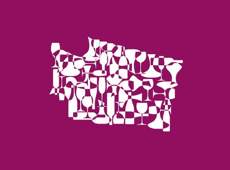 States winemakers - stylized maps from silhouettes of wine bottles, glasses and decanters. Map of Washington.