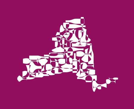 States winemakers - stylized maps from silhouettes of wine bottles, glasses and decanters. Map of New York.