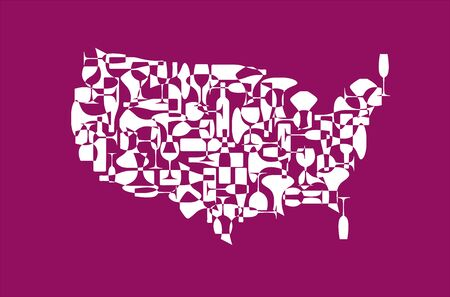 Countries winemakers - stylized maps from silhouettes of wine bottles, glasses and decanters. Map of United States. Illustration