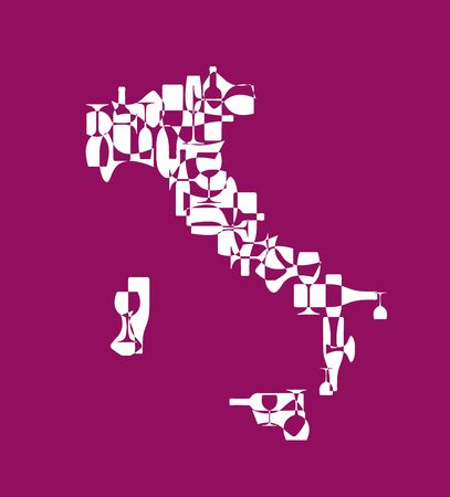 Countries winemakers - stylized maps from silhouettes of wine bottles, glasses and decanters. Map of Italy.