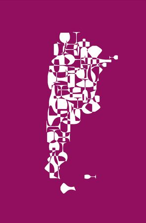 Countries winemakers - stylized maps from silhouettes of wine bottles, glasses and decanters. Map of Argentina. Illustration