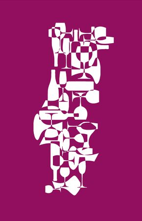 Countries winemakers - stylized maps from silhouettes of wine bottles, glasses and decanters. Map of Portugal.