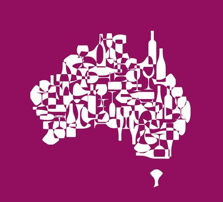 Countries winemakers - stylized maps from silhouettes of wine bottles, glasses and decanters. Map of Australia. Illustration