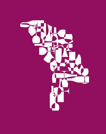 Countries winemakers - stylized maps from silhouettes of wine bottles, glasses and decanters. Map of Moldova.