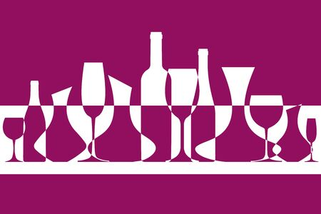 Wine vector background. Banner from silhouettes of wine bottles, glasses and decanters. EPS 10 file format.