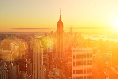 Beautiful sunset over a Manhattan, New York City.