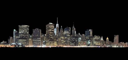 A night view of Lower Manhattan from Brooklyn Heights - isolated on black background. Clipping path included. Good for use with dark background.