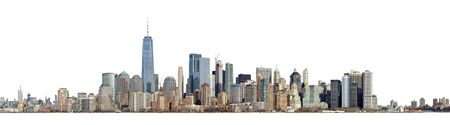 High resolution panoramic view of Lower Manhattan from the Ellis Island - isolated on white. Clipping path included. Stock fotó