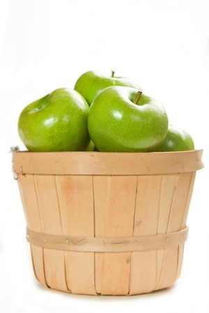 granny smith: A Small Bushel of Fresh Granny Smith apples Stock Photo