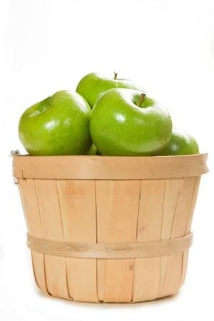 bushel: A Small Bushel of Fresh Granny Smith apples Stock Photo