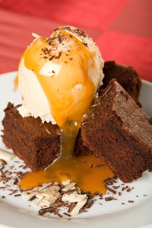 The Chocolate Brownies with Ice Cream, Chocolate Shavings, and Caramel