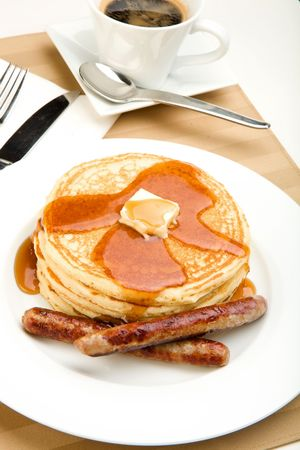 Breakfast of coffee, pancakes and sausage